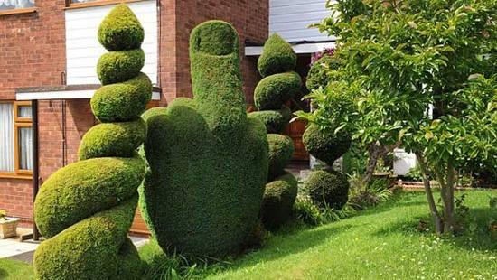 Topiary finger Британец превратил куст в неприличный жест