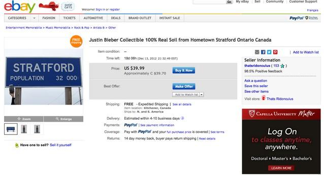 На eBay продается земля с родины Джастина Бибера