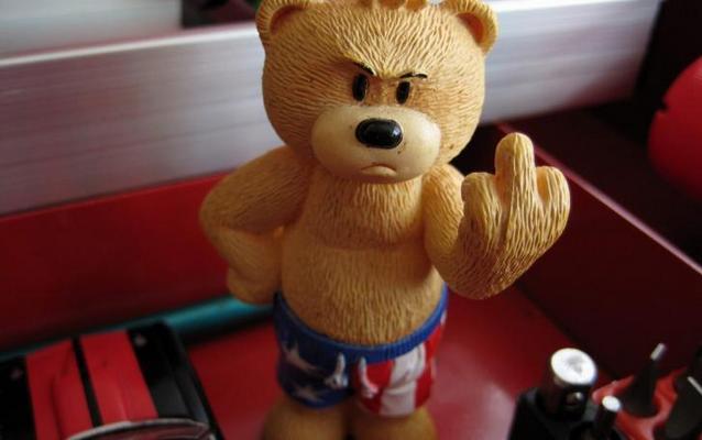 Teddy Bears Middle Finger 485x728 Суд в США запретил останавливать водителей за средний палец, показанный полицейскому